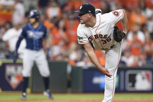 Former Houston Astros reliever Will Harris had a 1.50 ERA and 62 strikeouts in 60 innings for the Astros during the regular season in 2019. File Photo by Trask Smith/UPI