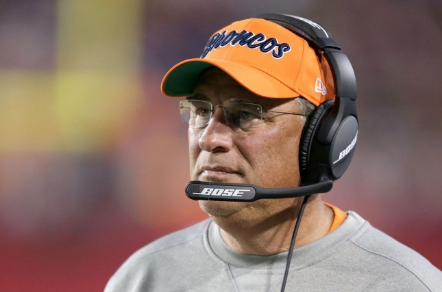 Denver Broncos head coach Vic Fangio said he lost his Internet connection and his TV went off minutes before the first pick was selected in Thursday's virtual 2020 NFL Draft. File Photo by Aaron Josefczyk/UPI