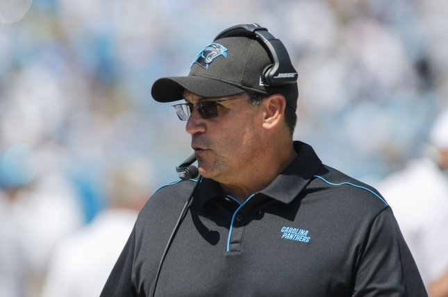 Former Carolina Panthers head coach Ron Rivera became the next coach of the Washington Redskins after the 2019 regular season. He was the only minority hired in the last coaching cycle. File Photo by Nell Redmond/UPI