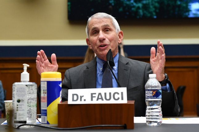 Dr. Anthony Fauci, director of the National Institute for Allergy and Infectious Diseases, is seen testifying during a House committee hearing on Tuesday. Photo by Kevin Dietsch/UPI