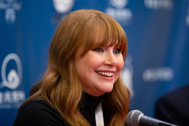 Bryce Dallas Howard answers questions at a press conference after being honored as the Harvard University Hasty Pudding Theatricals 2019 Woman of the Year at Harvard University in Cambridge, Mass., on January 31, 2019. She turns 40 on March 2. File Photo by Matthew Healey/UPI