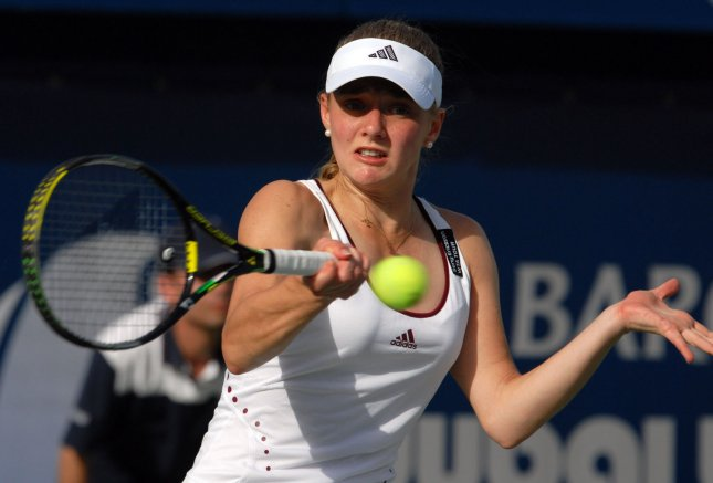 Anna Chakvetadza, shown during a February tournament, dropped a first-round match Tuesday at a tournament in Japan. (UPI Photo/Norbert Schiller)