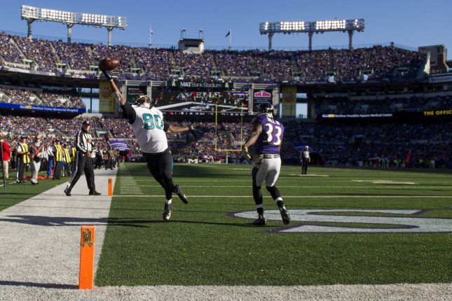 Jacksonville Jaguars tight end Julius Thomas (80) fails to bring in a touchdown pass as Baltimore Ravens strong safety Will Hill (33) provides coverage, in the first quarter at M&T Bank Stadium in Baltimore, Maryland on November 15, 2015. Photo by Kevin Dietsch/UPI