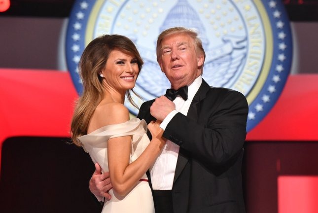 First lady Melania Trump and President Donald Trump at the Freedom Ball on January 20. File Photo by Kevin Dietsch/UPI