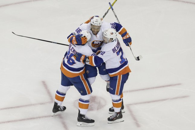 The New York Islanders passed the Boston Bruins for the final wild-card berth in the Eastern Conference standings as they recorded a 4-3 shootout win over the Pittsburgh Penguins at PPG Paints Arena. File Photo by John Angelillo/UPI