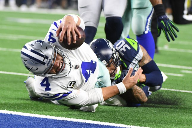 Dallas Cowboys quarterback Dak Prescott (4) has a 32-16 record in three years as a starter. The fourth round pick in the 2016 NFL Draft has made the Pro Bowl in two of his three seasons. File Photo by Ian Halperin/UPI
