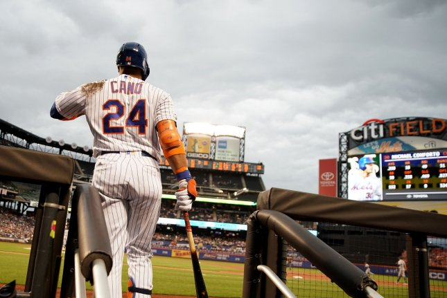 New York Mets second baseman Robinson Cano is now hitting .2254 with nine home runs this season after going deep three times in a win against the San Diego Padres Tuesday in Queens. Photo by John Angelillo/UPI