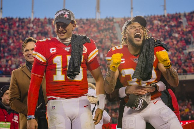 Kansas City Chiefs quarterback Patrick Mahomes (15) and strong safety Tyrann Mathieu (32) are cornerstones of the team's offense and defense. Photo by Kyle Rivas/UPI