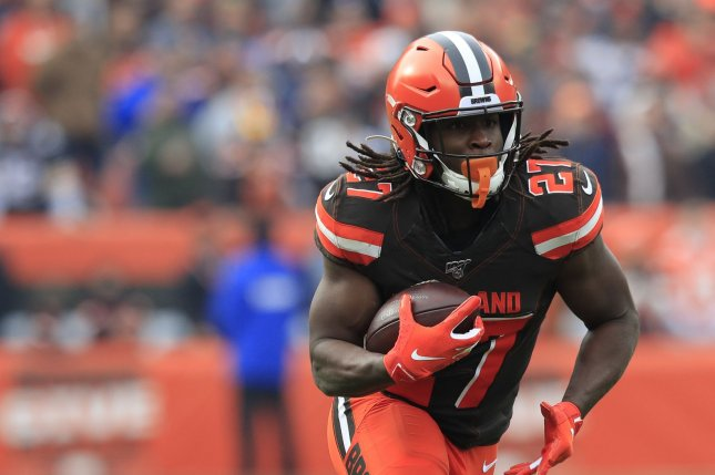 Cleveland Browns running back Kareem Hunt previously served an eight-game suspension this season for violating the NFL's personal conduct policy. File Photo by Aaron Josefczyk/UPI