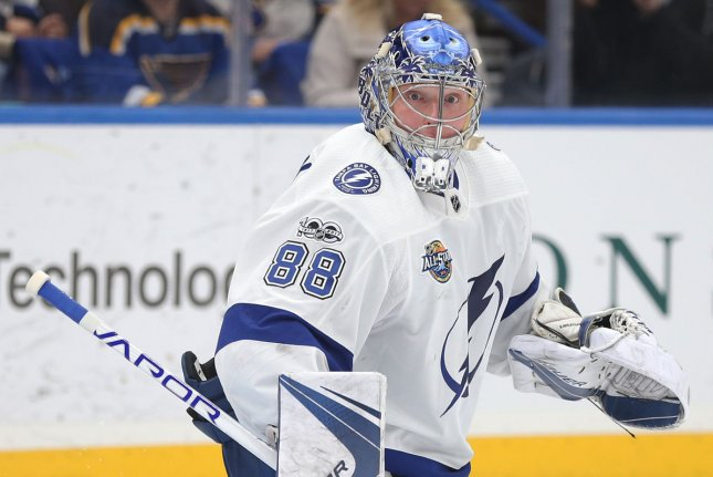 Tampa Bay Lightning goaltender Andrei Vasilevskiy had 27 saves in a win over the Dallas Stars in Game 2 of the 2020 Stanley Cup Final Monday at Rogers Place in Edmonton, Alberta, Canada. File Photo by Bill Greenblatt/UPI