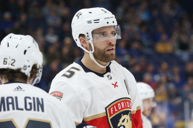 Florida Panthers defenseman Aaron Ekblad suffered the leg injury midway through the second period during Sunday's game against the Dallas Stars. File Photo by Bill Greenblatt/UPI