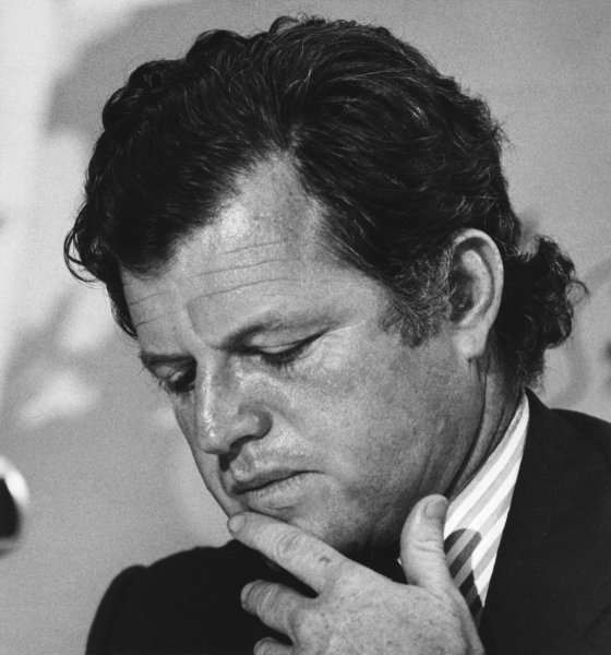 Sen. Edward Ted Kennedy, D-MA, died at his home in Cape Cod, Massachusetts, after a year-long battle against brain cancer on August 25, 2009. Kennedy ponders for a moment while appearing before a U.S. Senate hearing on offshore oil drilling on August 5, 1974. UPI/FILES