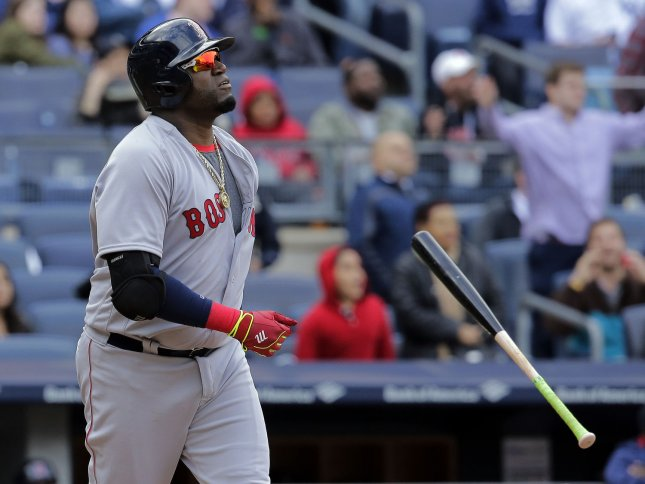 Boston Red Sox designated hitter David Ortiz hit a 3-run homer to help blank the San Francisco Giants. File photo by Ray Stubblebine/UPI