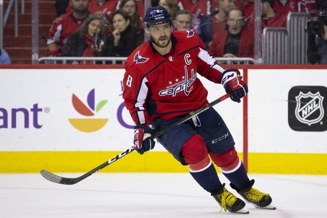 Washington Capitals left wing Alex Ovechkin (8) skates during the first round NHL playoff game between the Columbus Blue Jackets and Washington Capitals on April 15, 2018 at Capital One Arena in Washington, D.C. Photo by Alex Edelman/UPI