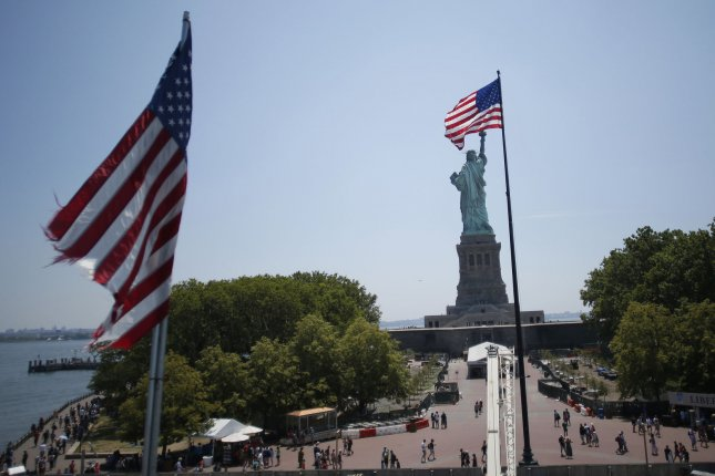 The Statue of Liberty stands on Liberty Island Monday, 2 days before the 4th of July in New York City. Photo by John Angelillo/UPI