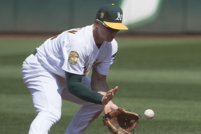 Matt Chapman and the Oakland A's face the Seatlle Mariners on Tuesday. Photo by Terry Schmitt/UPI