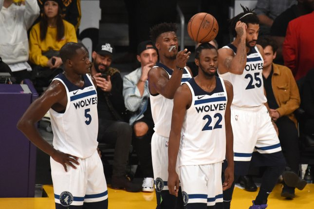 Minnesota Timberwolves star Jimmy Butler balances the ball on teammate Andrew Wiggins' (22) head during a timeout during game against the Los Angeles Lakers on November 7 at Staples Center in Los Angeles. Photo by Jon SooHoo/UPI