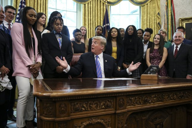 President Donald Trump welcomes the 2019 NCAA Division I Women's Basketball National Champions the Baylor Lady Bears in the Oval Office. The Lady Bears were the first female sports team to accept an invitation from Trump. Photo by Oliver Contreras/UPI