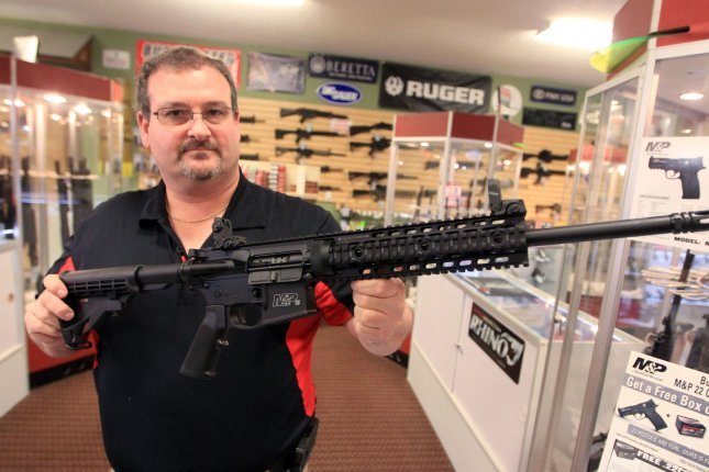 California filed an appeal Thursday to overturn a district court's ruling declaring its ban on assault rifles such as AR-15s, like the one pictured here, unconstitutional. File Photo by Bill Greenblatt/UPI