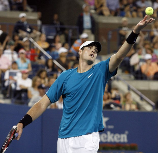 John Isner, shown in a file photo from September 2009, posted a three-set upset of top-seeded Tommy Robredo on Thursday at the Heineken Open tennis tournament in New Zealand. UPI/John Angelillo