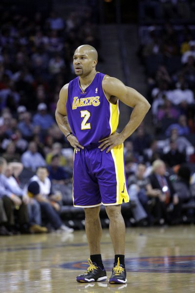 Los Angeles Lakers guard Derek Fisher is shown during a game in Charlotte, N.C., Feb. 14, 2011. Fisher is president of the NBA players' union. UPI/Nell Redmond