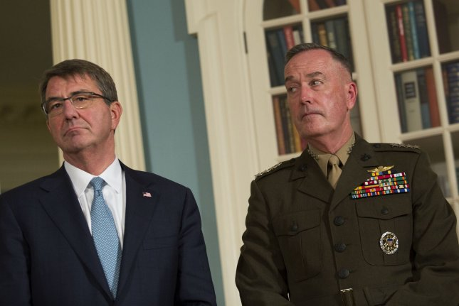 Secretary of Defense Ashton Carter and Chairman of the Joint Chiefs of Staff Gen. Joseph Dunford testified before the Senate Armed Services Committee Thursday. Pool photo by Drew Angerer/UPI