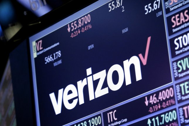A board on the floor of the NYSE shows Verizon shares trading down after the opening bell at the New York Stock Exchange on Wall Street in New York City on July 25, 2016. Verizon Communications on Monday announced plans to acquire Yahoo for $4.8 billion in cash. Photo by John Angelillo/UPI