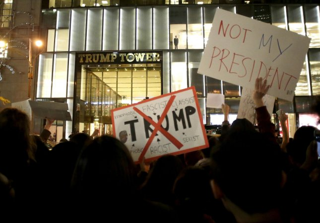 Donald Trump called protests of his election to the White House, which started almost immediately after the election was called in his favor, unfair and suggested the media was inciting gatherings that have occurred across the country for the last two days. Above, protestors gather outside Trump Tower in New York City on November 9. File photo by John Angelillo/UPI