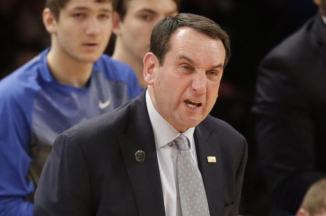 Duke head coach Mike Krzyzewski and the Blue Devils defeated the Pitt Panthers on Tuesday night. File photo by John Angelillo/UPI