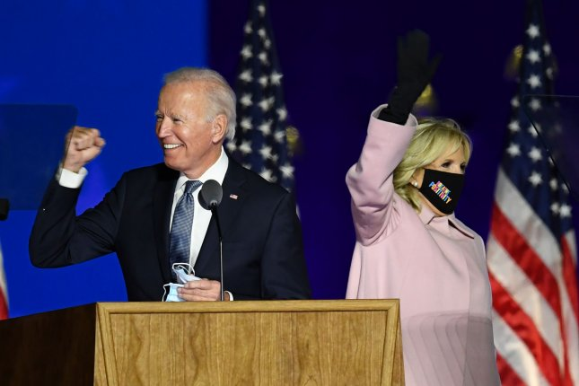 President-elect Joe Biden and Dr. Jill Biden are seen at an event in Wilmington, Del., on November 4. File Photo by Kevin Dietsch/UPI