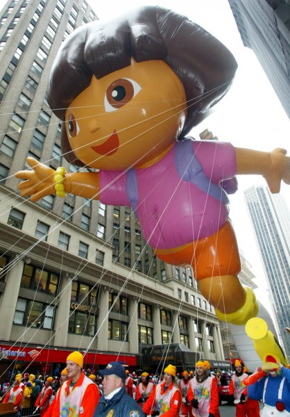 The Dora the Explorer giant helium balloon makes it's debut as it is guided down Broadway during the 79th Macy's Thanksgivings Day parade on November 24, 2005 in New York City. Dora, (UPI Photo/Monika Graff)