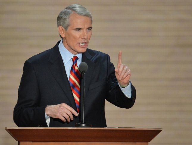 Sen. Rob Portman speaks at the 2012 Republican National Convention in Tampa, Fla., Aug. 29, 2012. UPI/Kevin Dietsch