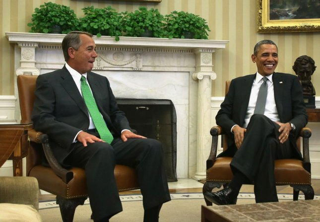 U.S. President Barack Obama (R) meets with Speaker of the House Rep. John Boehner (R-OH) at the Oval Office of the White House February 25, 2014 in Washington, DC. President Obama and Speaker Boehner met to discuss topics of their top legislative priorities. UPI/Alex Wong/Pool