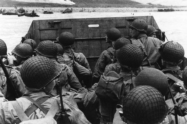 Troops in an LCVP landing craft approach Omaha Beach in Normandy, France on D-Day, June 6, 1944. (UPI Photo/U.S. Army)