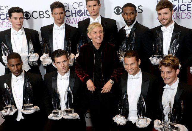 Ellen Degeneres, winner of multiple awards, appears backstage during the 43rd annual People's Choice Awards at the Microsoft Theater in Los Angeles on January 18. Degeneres has won 20 People's Choice Awards. Photo by Jim Ruymen/UPI