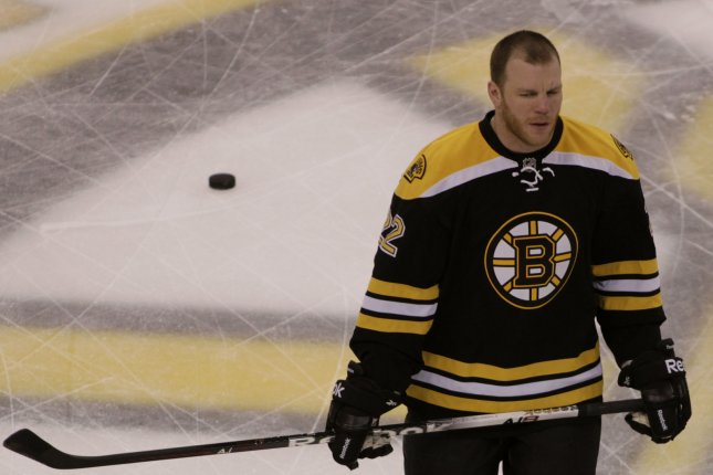 Former Boston Bruins forward Shawn Thornton skates with his helmet off during warm ups before a game. Thornton accepted a vice president role with the Florida Panthers on Thursday. File photo by Matthew Healey/UPI