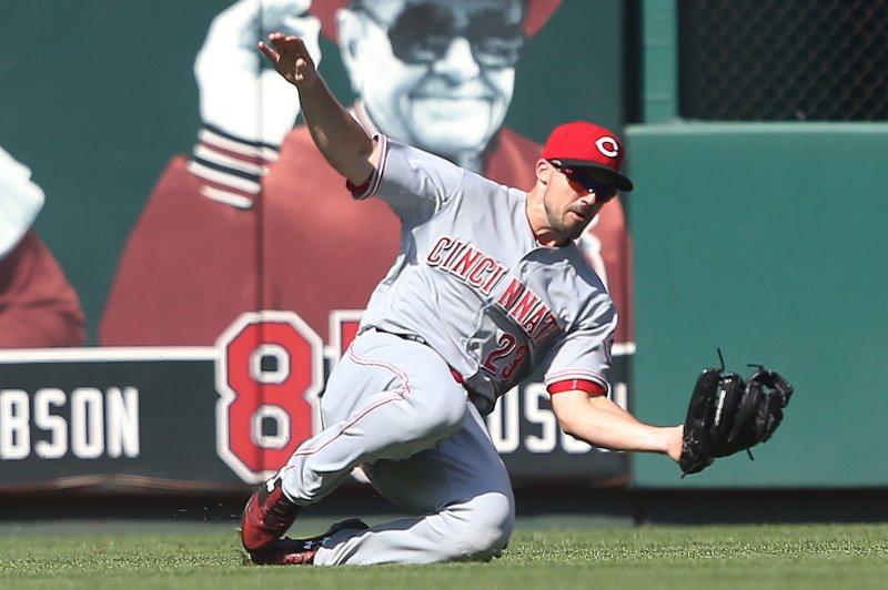 Cincinnati Reds outfielder Adam Duvall. File photo by Bill Greenblatt/UPI