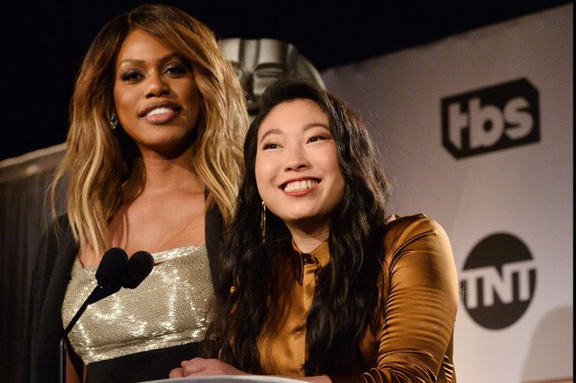 Actresses Laverne Cox (L) and Awkwafina announce nominations onstage for the 25th annual SAG Awards on Wednesday. Winners will be announced during a nationally live simulcast on TNT and TBS on January 27. Photo by Jim Ruymen/UPI