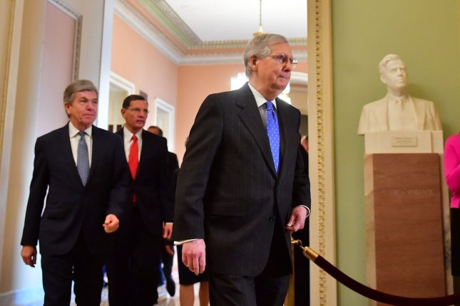 Senate Republican leader Mitch McConnell has blocked all bills that seek to reopen the government without giving money for a border wall. Photo by Kevin Dietsch/UPI