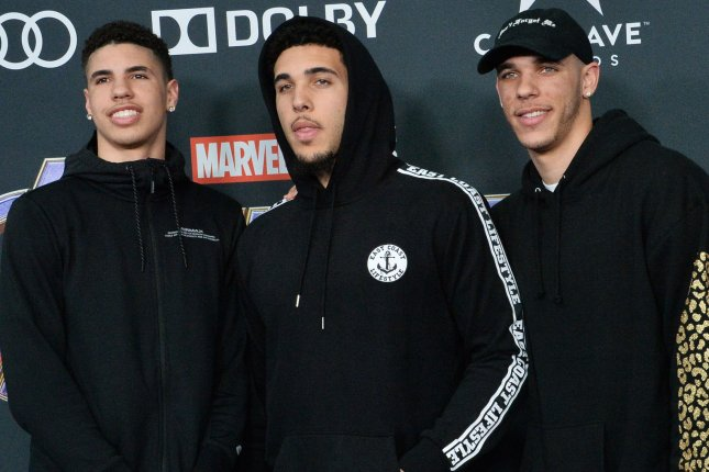 LaMelo Ball, LiAngelo Ball and Lonzo Ball (L-R) each committed to UCLA before LaMelo and Lonzo each were drafted into the NBA. File Photo by Jim Ruymen/UPI