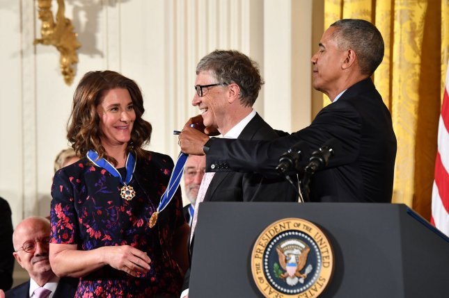 President Barack Obama awards the Presidential Medal of Freedom to Bill and Melinda Gates during a White House ceremony on November 22, 2016. File photo by Kevin Dietsch/UPI