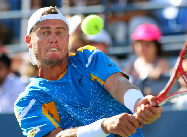 Lleyton Hewitt shown at this year's U.S. Open posted a first-round upset of No. 7-seeded Tommy Haas in Monday's play of the China Open. UPI Photo/Monika Graff
