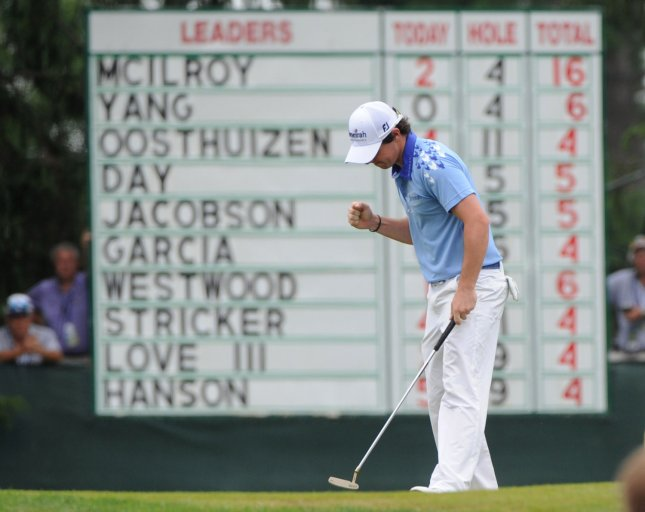 Northern Ireland's Rory McIlroy celebrates after making a putt to save par on the 5th green during the final round of the 2011 U.S. Open golf championship at Congressional Country Club in Bethesda, Maryland on June 19, 2011. McIlroy started the day in first place with a commanding eight stroke lead. UPI/Kevin Dietsch