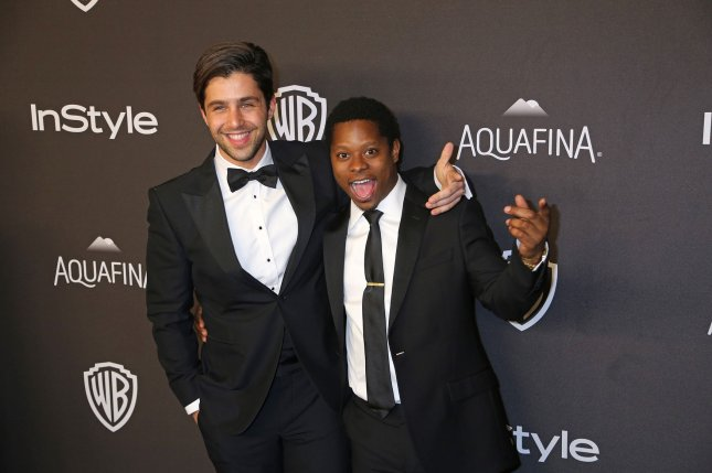 Josh Peck (L) and Jason Mitchell attend the 17th annual InStyle and Warner Bros. Golden Globe after-party at the Beverly Hilton Hotel in Beverly Hills on January 10, 2016. Peck married his longtime girlfriend Paige O'Brien this weekend. File Photo by David Silpa/UPI