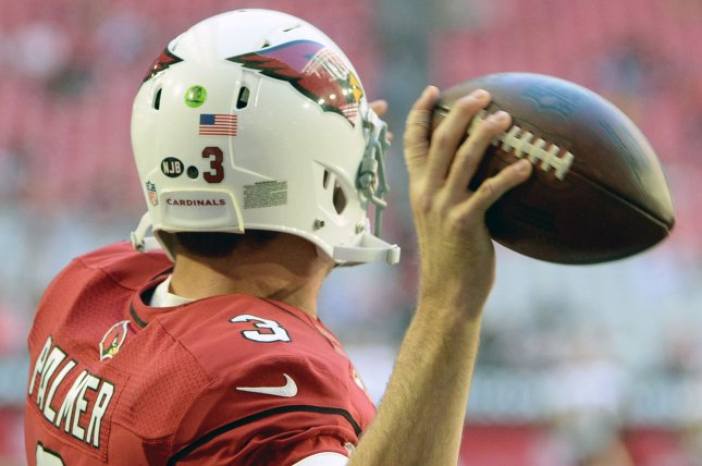 Former Arizona Cardinals quarterback Carson Palmer will become the 18th member of the franchise's Ring of Honor on Sept. 29 at State Farm Stadium in Glendale, Ariz. File Photo by Art Foxall/UPI