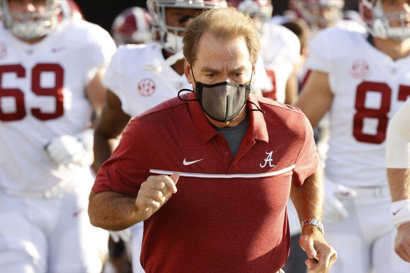 Alabama Crimson Tide head football coach Nick Saban said he wasn't experiencing any coronavirus-related symptoms. File Photo by Kent Gidley/UPI