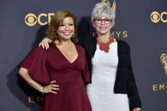 One Day at a Time stars Justina Machado (L) and Rita Moreno arrive for the 69th annual Primetime Emmy Awards on September 2017. The series has been canceled at Pop TV. File Photo by Christine Chew/UPI