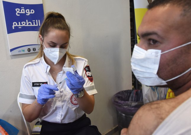 A medic from Israel's Magen David Adam emergency agency prepares to inoculate a Palestinian worker with the first dose of the Moderna COVID-19 vaccine at the Lamed Hei Checkpoint between Gush Etzion and Beit Shemesh in Israel, on Monday. Photo by Debbie Hill/UPI