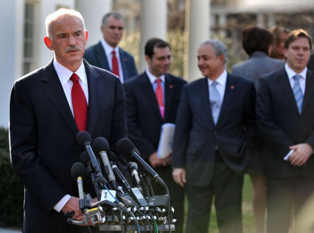 The Prime Minister of Greece George Papandreou speaks to the media following a meeting with U.S. President Barack Obama, in Washington on March 9, 2010. Papandreou met with Obama as his country looks for ways to stop its financial bleeding and reform its economy after being hit hard by a financial recession. UPI/Kevin Dietsch