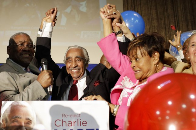 Charlie Rangel reacts when his supporters declare him the winner of the Democratic primary at his election night party in New York City on June 24, 2014. Rangel defeated Adriano Espaillat by a 4 percent margin. Rangel is the U.S. Representative for New York's 13th congressional district. As a member of the Democratic Party he is the third-longest currently serving member of the House of Representatives serving consistently since 1971. UPI/John Angelillo
